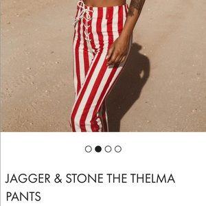 Princess Polly Red & White Striped Pants